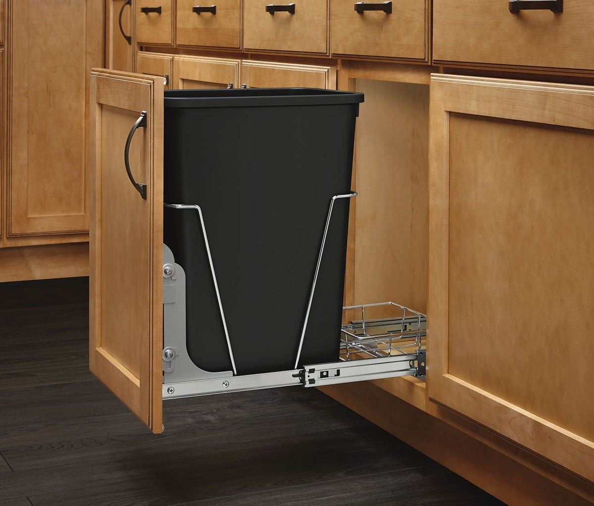 kitchen trash can in cabinet pull out hiding black container waste disposal bin ebay. Black Bedroom Furniture Sets. Home Design Ideas