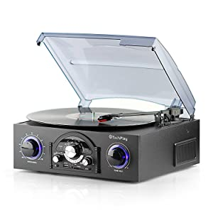 TechPlayTurntable with pitch control, AM/FM Radio, SD USB ports,RCA Out Jacks, Headphone Jack, AUX input and Built-in stereo speakers with LED lights