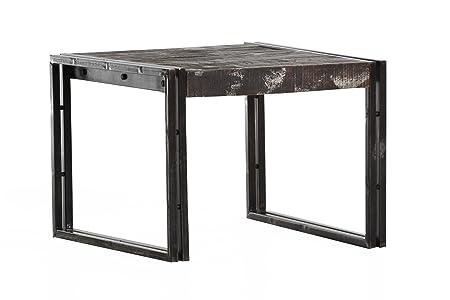 Stylefurniture Couchtisch aus Metall und Massivholz, braun, 60 x 60 x 45 cm