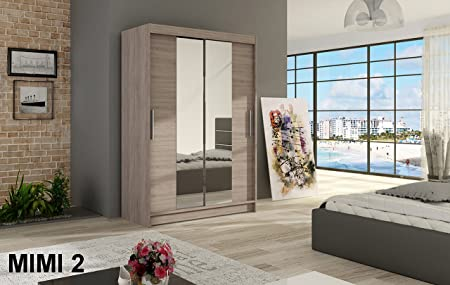 WARDROBE MIMI 2 TRUFFLE 120 cm wide 2 sliding doors many colours