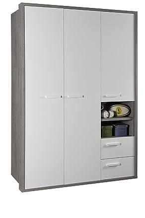 Composad mi-piace 2cassetti Porta wardrobe-with/scaffale/armadio, legno, Beton/bianco lucido, 63x 154x 216cm
