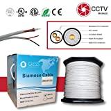 RG59 Siamese 500FT Coaxial CCTV Combo 20 AWG CCA RG59+18/2 18AWG Real ETL Listed Power Cable Surveillance Spool Box White (Tamaño: 500 feet)