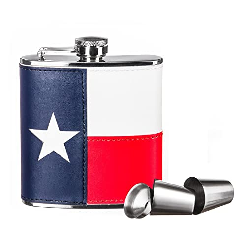 Green Ace ® 6oz Texas Flag Stainless Flask Gift Set in gift box