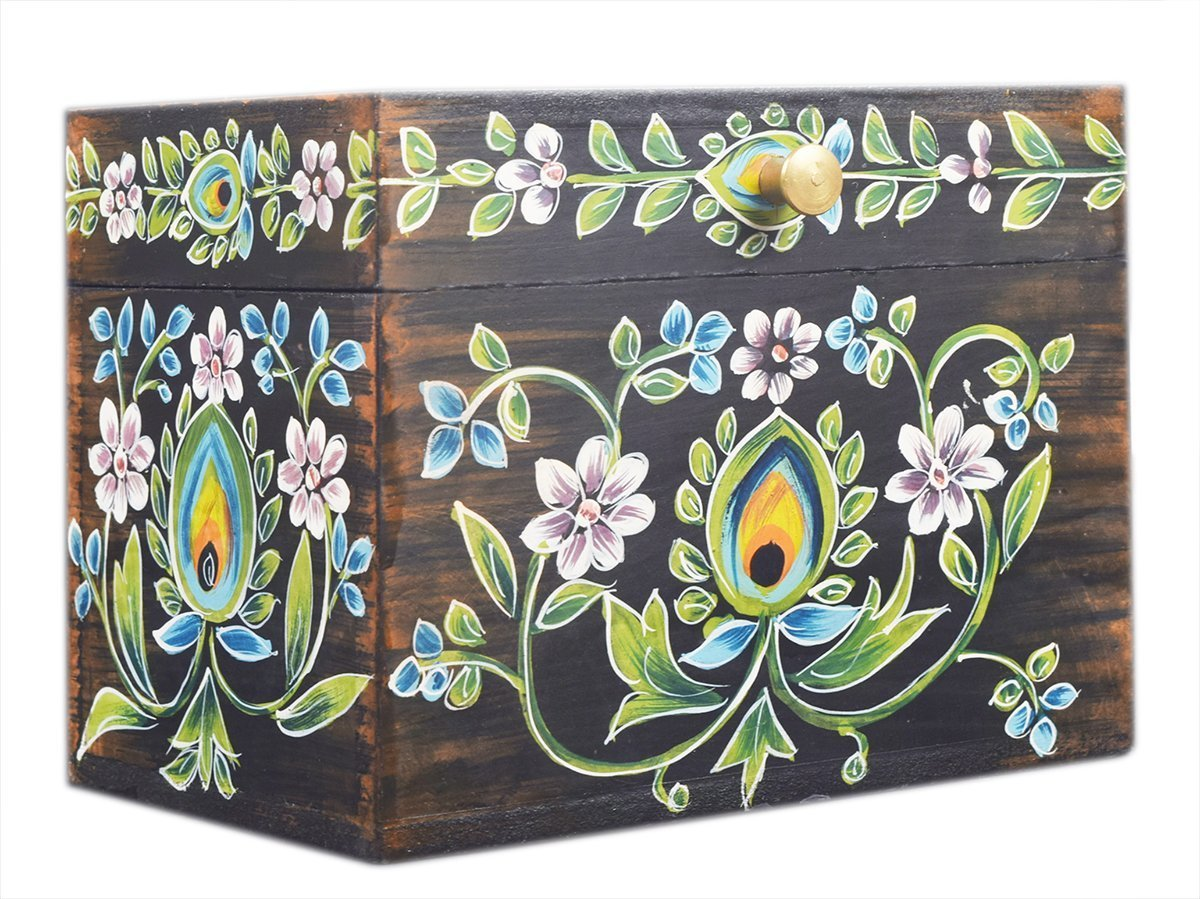 Hand Painted Floral Design Small Wooden Storage Box