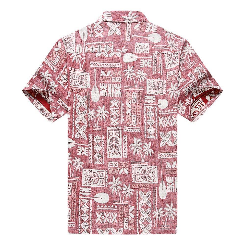 Made in Hawaii Men's Hawaiian Shirt Aloha Shirt Stonewash Vintage Look Classic Red 1