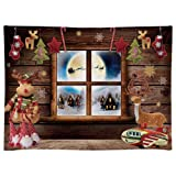 Funnytree 8x6FT Durable Fabric Soft Christmas Night Window Photography Backdrop Xmas Village Toy Pajama Party Decoration Winter Children Background Photo Booth Washable (Tamaño: 8'x6')