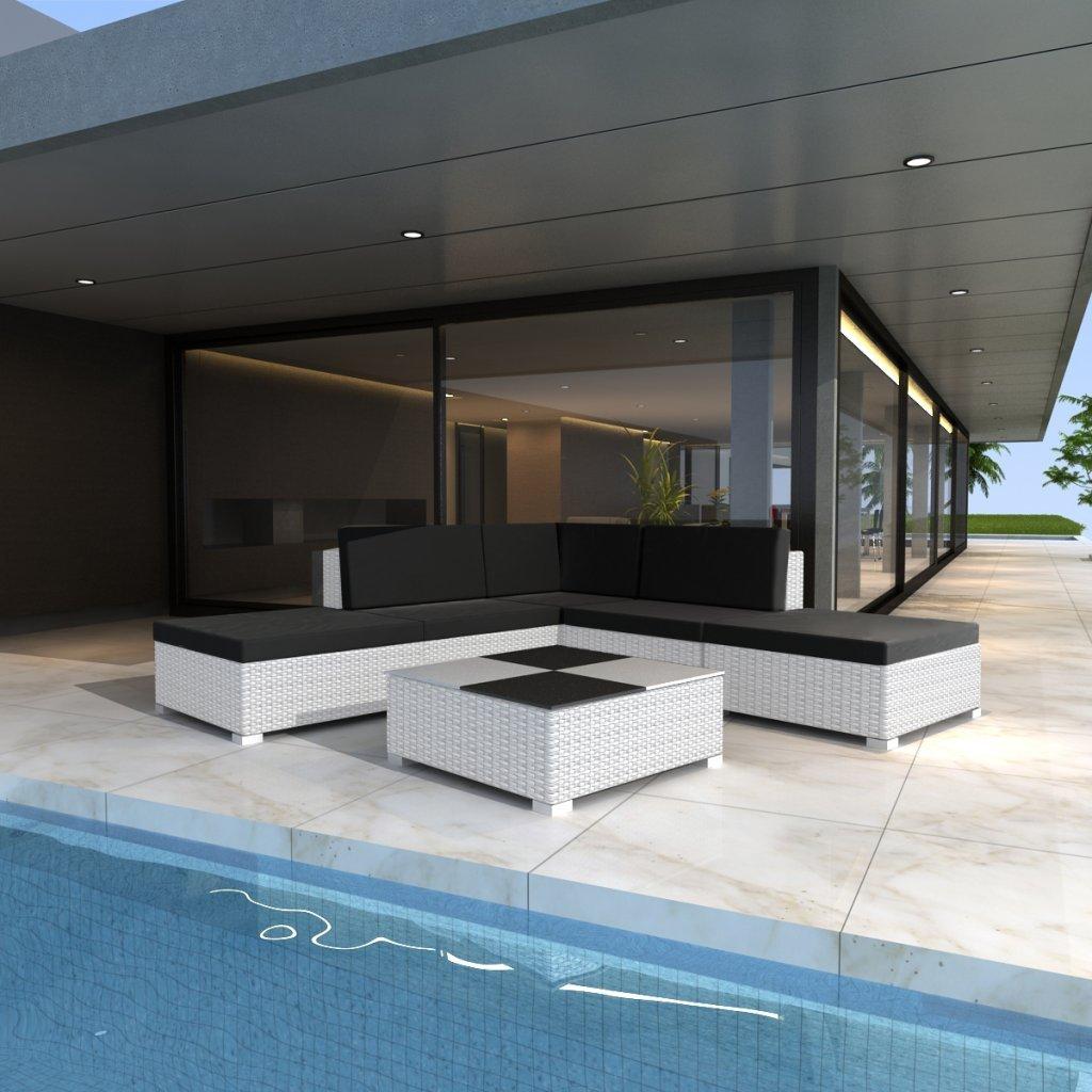 vidaXL Gartenmöbel Poly Rattan Set Lounge Weiß 15-teilig günstig kaufen
