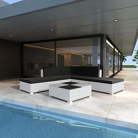 vidaXL Muebles de Jardín Ratán Set Lounge blanco 15piezas)