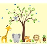 Safari Animal Nusery Decals - Jungle Animal Themed Stickers - Turtle Decal - Giraffe Decal - Elephant Decal - Tiger Decal - Lion Decal - Tree Decal - Koala Decal - Removable and Reusable
