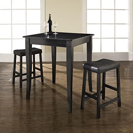 3-pc Pub Dining Set with Cabriole Leg and Upholstered Saddle Stools by Crosley - Black Finish (KD320004BK)