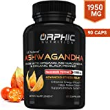 Organic Ashwagandha Capsules With Black Pepper 1950 mg | Anti-Anxiety Supplements For Stress Relief, Mood Boost & More Energy | All Natural, Non-GMO & Gluten-Free | Orphic Nutrition 90 Veggie Capsules