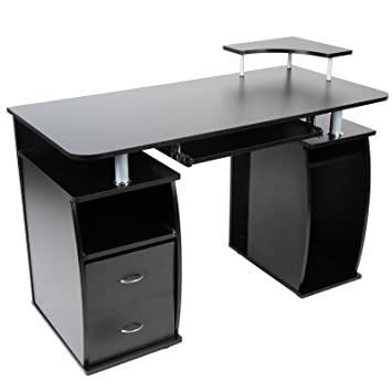 bureau bureau avec tablette coulissante pour pour clavier 2 tiroirs monitorplattform. Black Bedroom Furniture Sets. Home Design Ideas