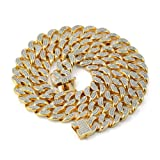 JINAO 14mm 18k Gold Plated All ICED Out Simulated Diamond Miami Cuban Chain Necklace (Gold, 18) (Color: Gold)