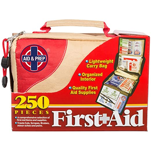 Aid & Prep First Aid Kit for Home and Office, Lightweight and Compact for Travel - Medical Supplies for Basic Emergencies-250 Pieces FDA labeled, USA assembled