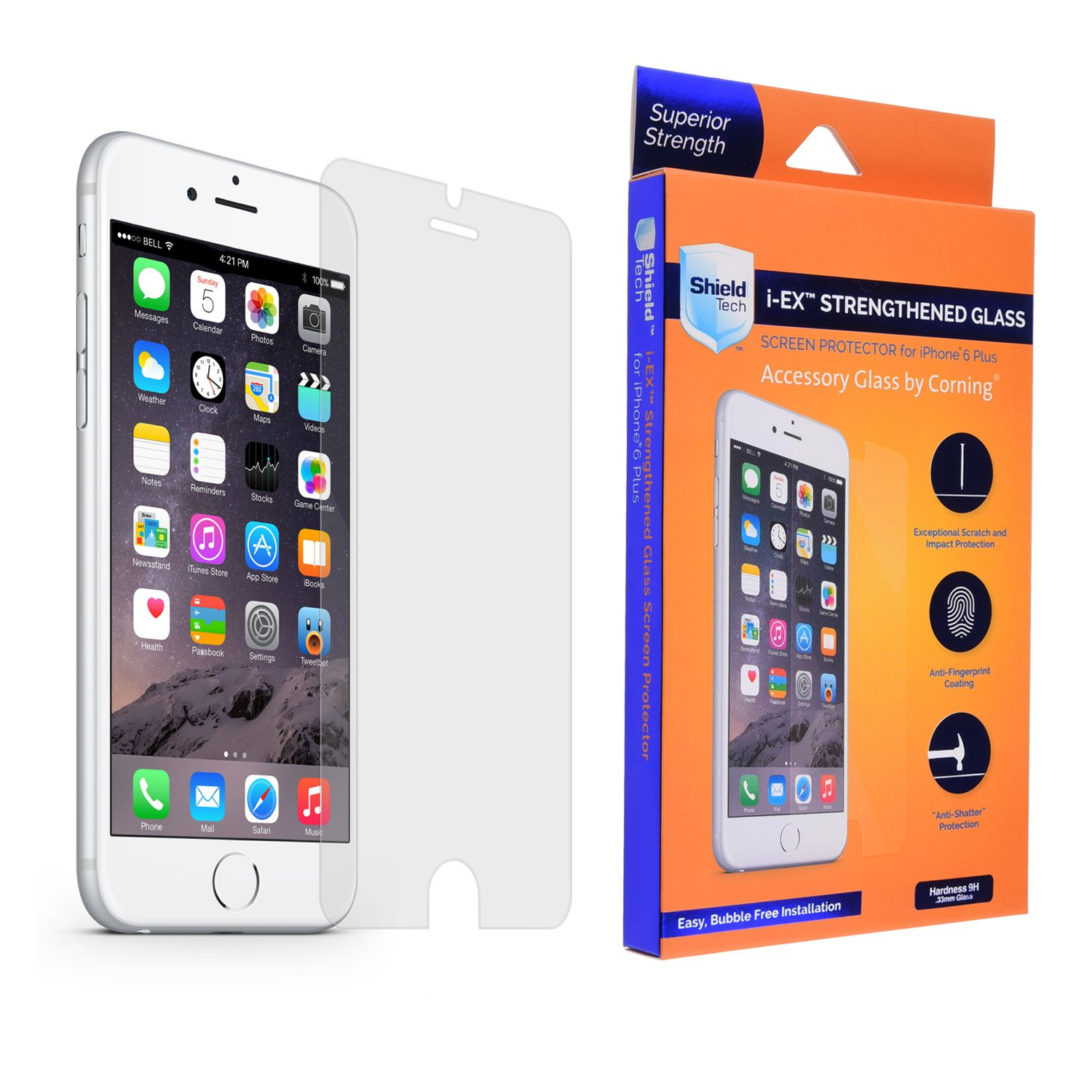 iPhone 6S Plus / 6 Plus Glass Screen Protector, Real Gorilla Glass, Super Strong Premium Quality Glass by Corning, Crystal Clear, Hardness 9H, Thickness 0.33 mm, Complete Kit, Easy to Apply