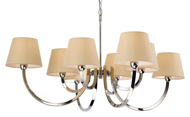 Firstlight 2323PST, E14, mit kleiner Edison-Schraube, 40 W, 1 Fairmont 8 Hängeleuchte, polierter Edelstahl mit cremefarbenem Lampenschirm, Leinen