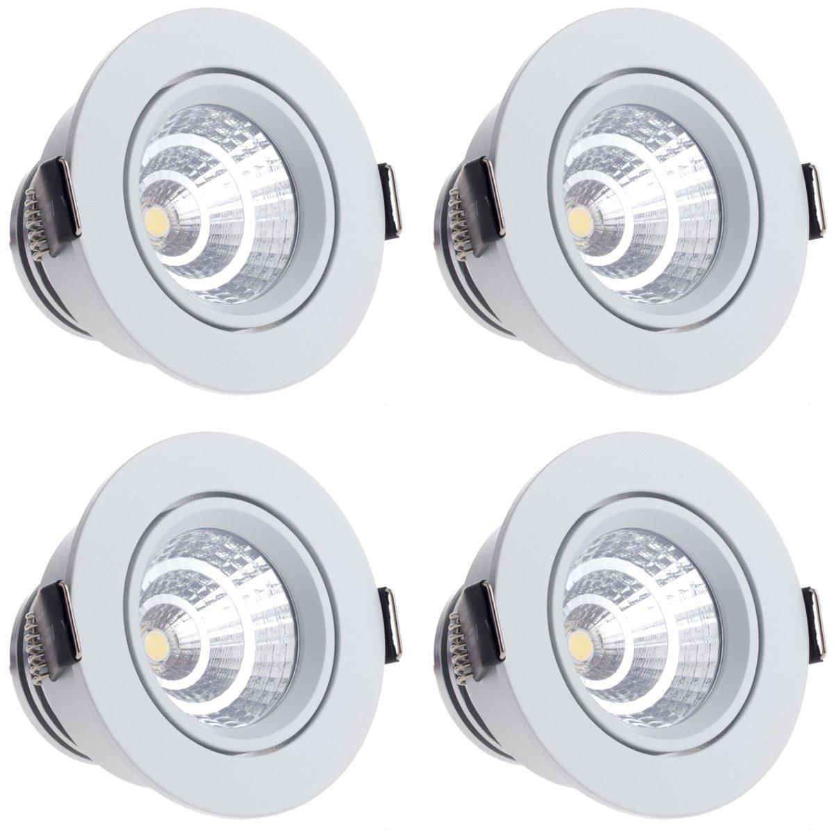Sensati Kleine exklusive Design LED Einbauleuchte Downlight Spot Set zu 4 Stück, schwenkbar, dimmbar 1088 lm, inklusive Treiber, Gehäusefarbe weiß, kaltweiß T105 4 CW W