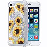 Flocute iPod Touch 5 6 7 Case, iPod Touch 5 6 7 Glitter Floral Case Flower Bling Sparkle Floating Liquid Soft TPU Cushion Luxury Fashion Girls Women Cute Case for iPod Touch 5th 6th 7th (Sunflower) (Color: Sunflower)