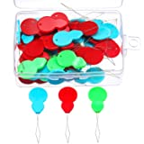 TecUnite 50 Pieces Gourd Shaped Plastic Needle Threaders with Clear Box, Assorted Colors