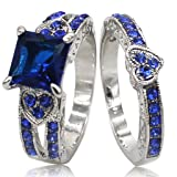 Jude Jewelers Rhodium Plated Blue Cubic Zirconia Heart Shaped Wedding Ring Set (7) (Color: Silver Blue)
