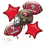 Andaz Press Balloon Bouquet Party Kit with Gold Cards & Gifts Sign, 49ers Football Themed Foil Mylar Balloon Decorations, 1-Set (Color: Sports 49ers)
