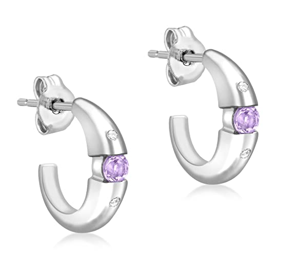 Carissima Gold 9ct White Gold Diamond Set and Amethyst Earrings
