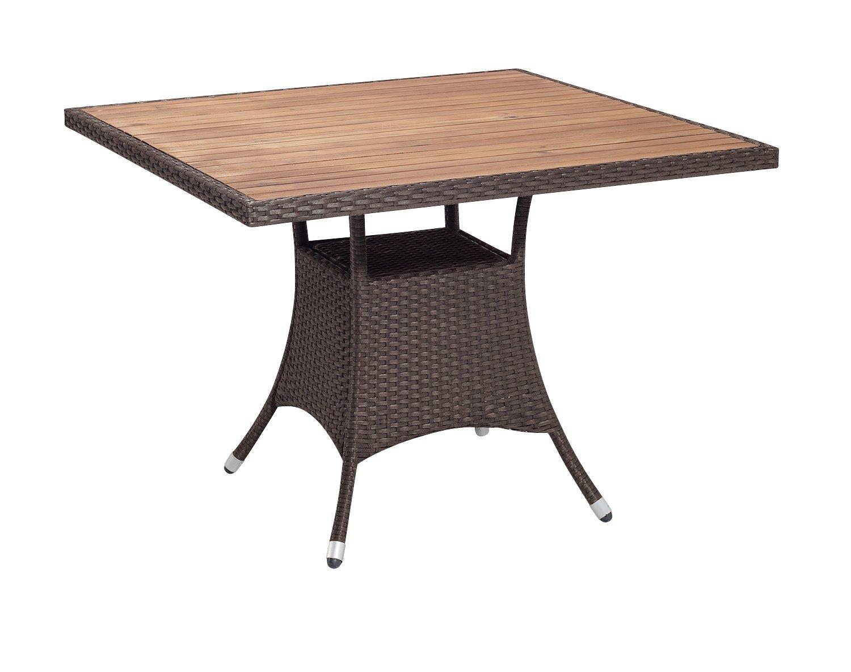 Gartenfreude Tisch Polyrattan, Aluminiumgestell mit Akazienholz, Mocca, 100 x 100 x 75 cm (LxBxH) kaufen