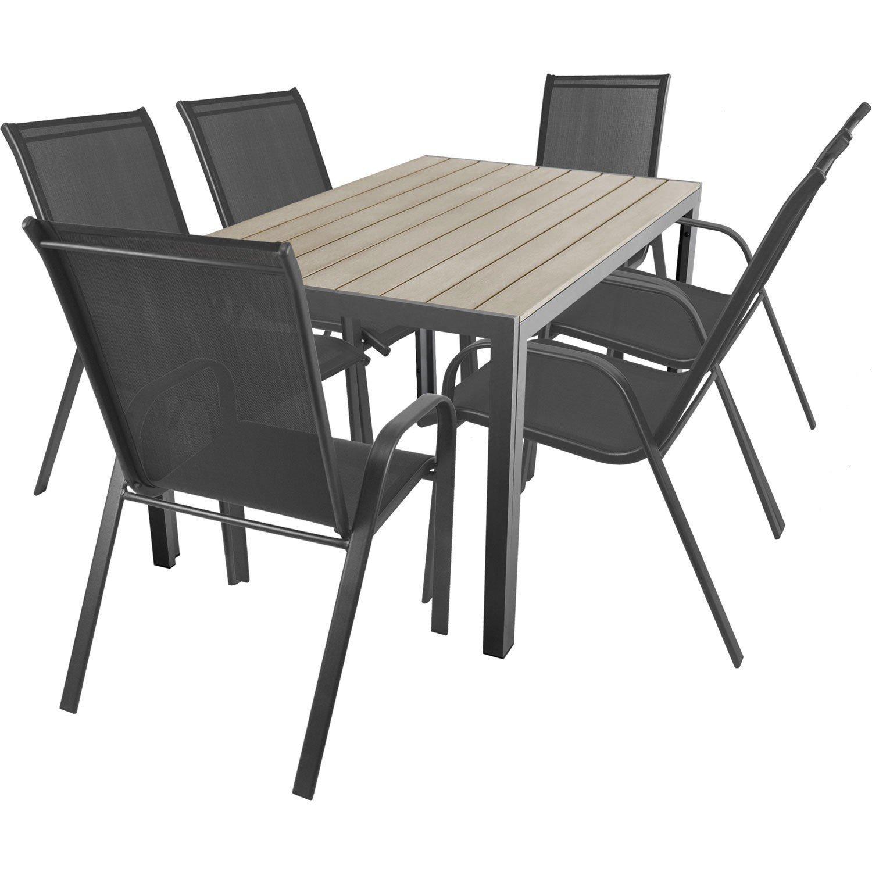 7-teilige Terrassengarnitur Gartengarnitur Aluminium Polywood / Non Wood Gartentisch 150x90cm + 6x Stapelstuhl mit 2×1 Textilenbespannung Gartenmöbel Terrassenmöbel Sitzgruppe Sitzgarnitur online bestellen