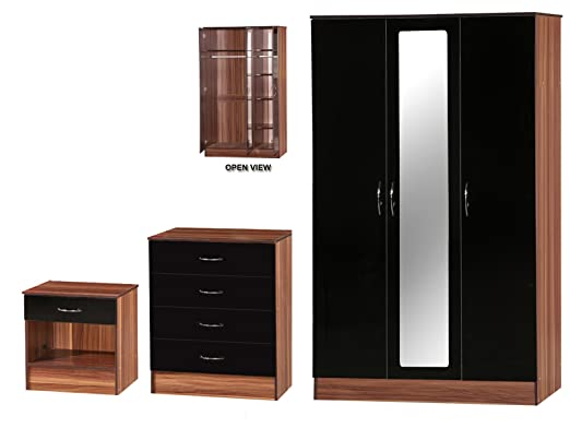 Alpha High Gloss and Walnut Effect Mirrored Set, Wood, Black, 3 Piece