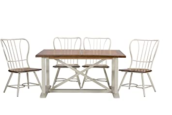"Baxton Studio Longford ""Dark-Walnut"" Wood and White Metal Vintage Industrial 7-Piece Dining Set"