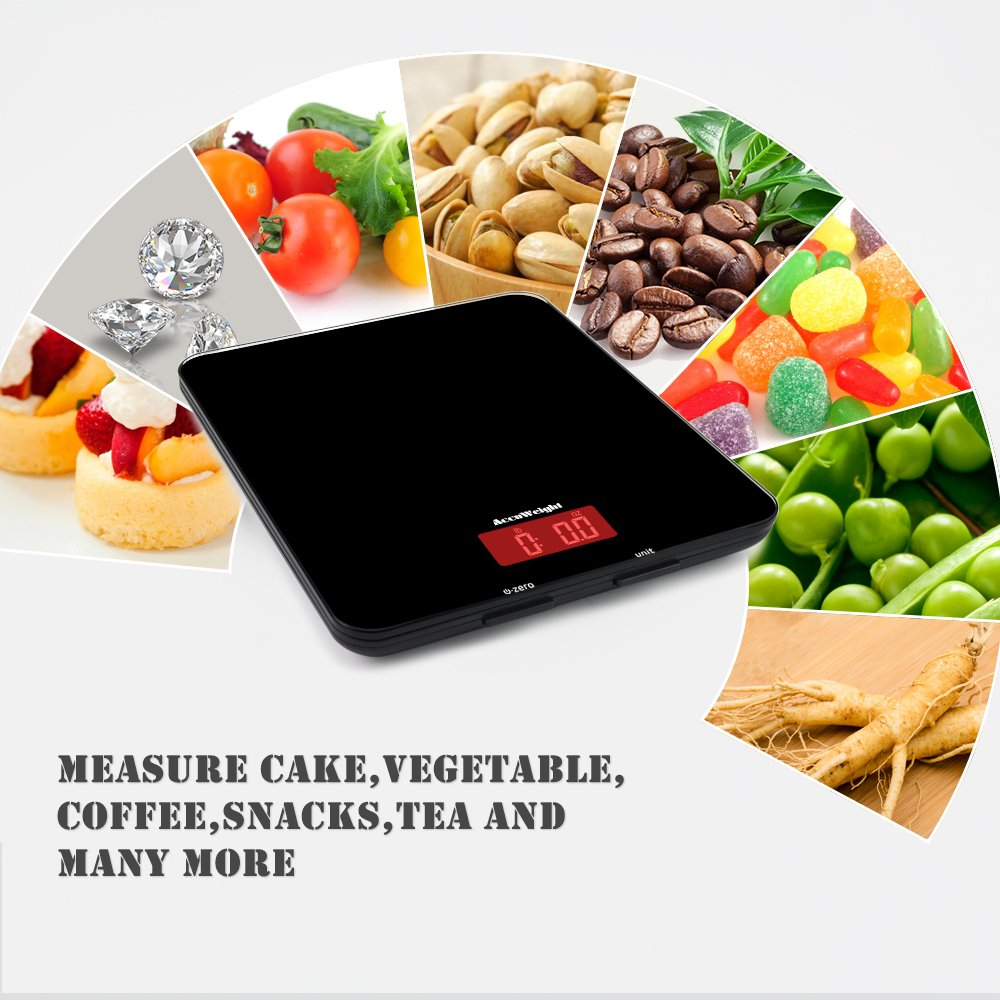 Accuweight Digital Multifunction Food Meat Scale with LCD Display Perfect for Baking Kitchen Cooking, 11lb Capacity by 0.1oz, Tempered Glass surface, Black