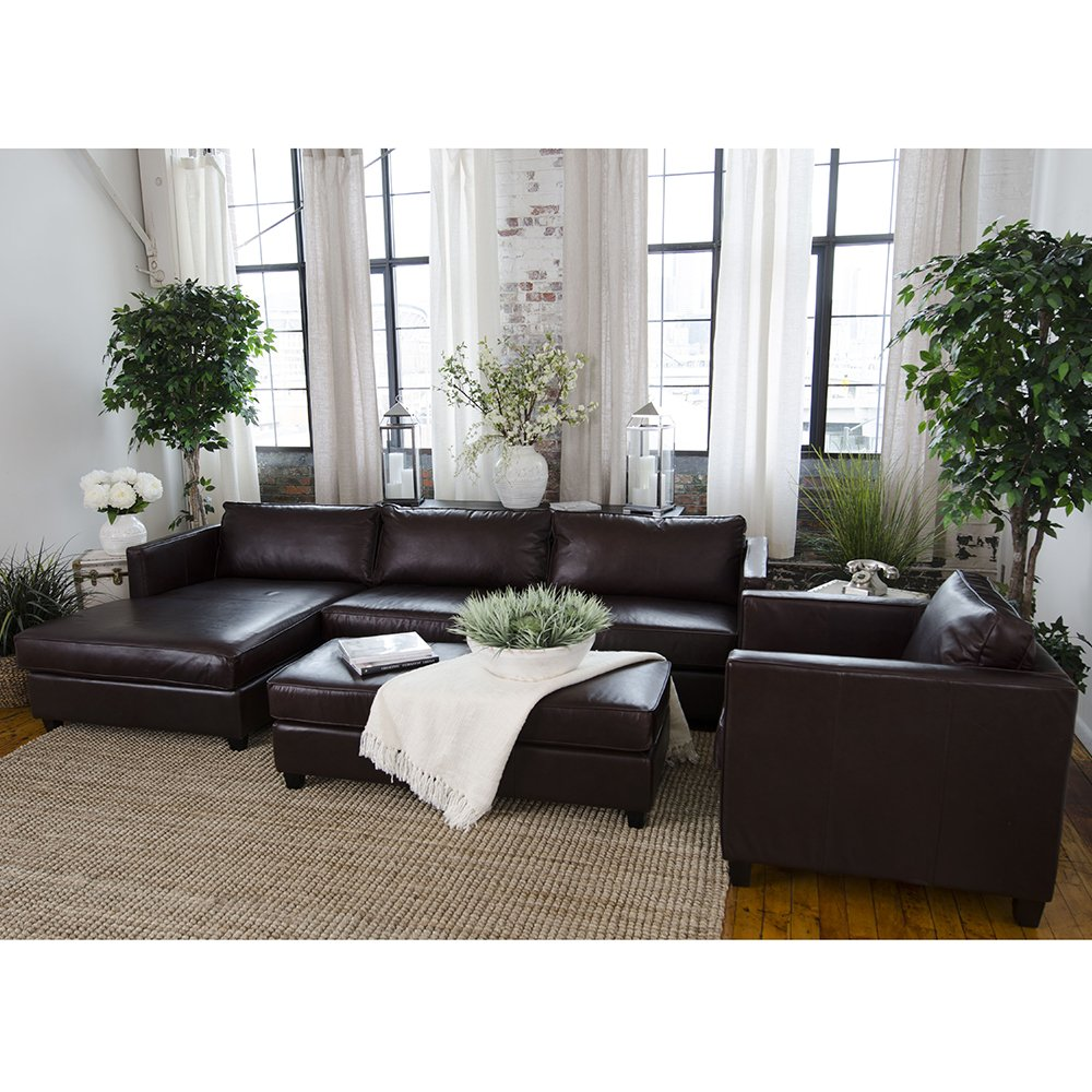 4-Pc Leather Upholstered Sectional Set in Cappuccino