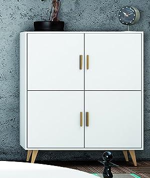 Commode en bois coloris blanc avec 4 portes - Dim : L 100 x H 114 x P 35 cm -PEGANE-