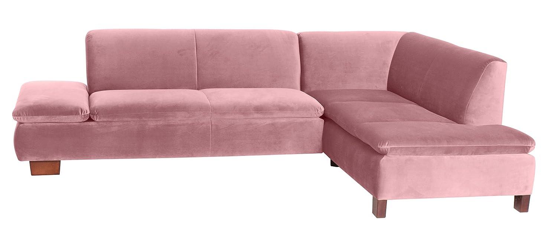 Coolnezz 25372-263-2044206 Sofa Toni mit Ecke rechts, 190 x 273 x 75 cm, Samtvelour, rose