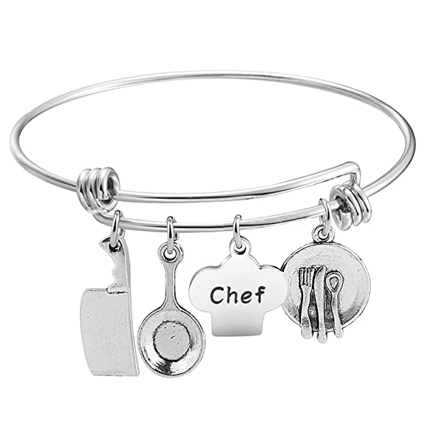 Baking Charm Bracelet Silver Tone Gift for Chef Baker Cook Cooking
