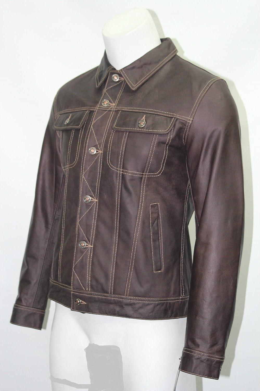 Man Trucker style braun Skipper ausblenden echtes Leder kurze Jacke online bestellen