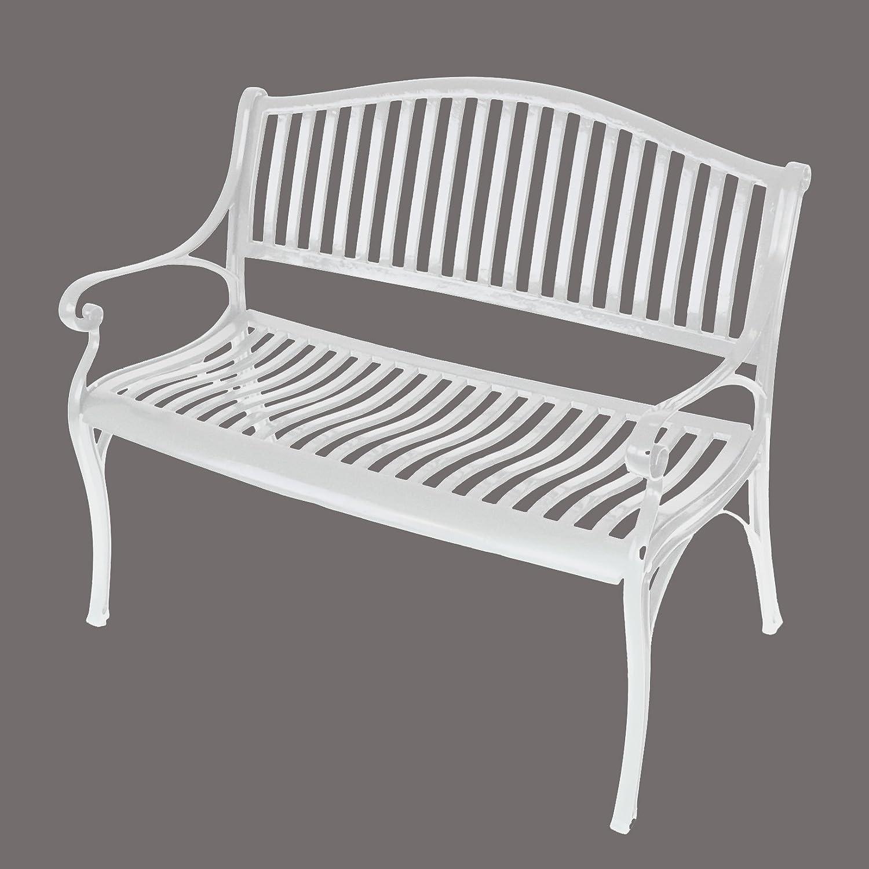 gartenbank napoli 2 sitzer aus aluguss weiss wetterfest. Black Bedroom Furniture Sets. Home Design Ideas