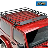 EAG 2/4 Door Roof Rack Cargo Basket W/Wind Deflector for 07-18 Jeep Wrangler JK (Color: Black)