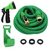 "YEAHBEER 50ft Expandable Garden Hose,Durable Lightweight Expandable Water Hose,3/4"" Patent Leak-Proof Connector,8-Mode High Pressure Spray Nozzles,Free Storage Bag + Hook (Color: Green 50 FT, Tamaño: 50 ft)"