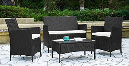 Garden Furniture Set Table Chair and Sofa Black RATTAN Conservatory, Patio Garden by Rattan