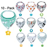 Baby Bandana Drool Bibs and Teething toys Made with 100% Organic Cotton, Super Absorbent and Soft Unisex (Vuminbox ) (10 -Pack Unisex) (Color: 10 -Pack Unisex, Tamaño: Large)