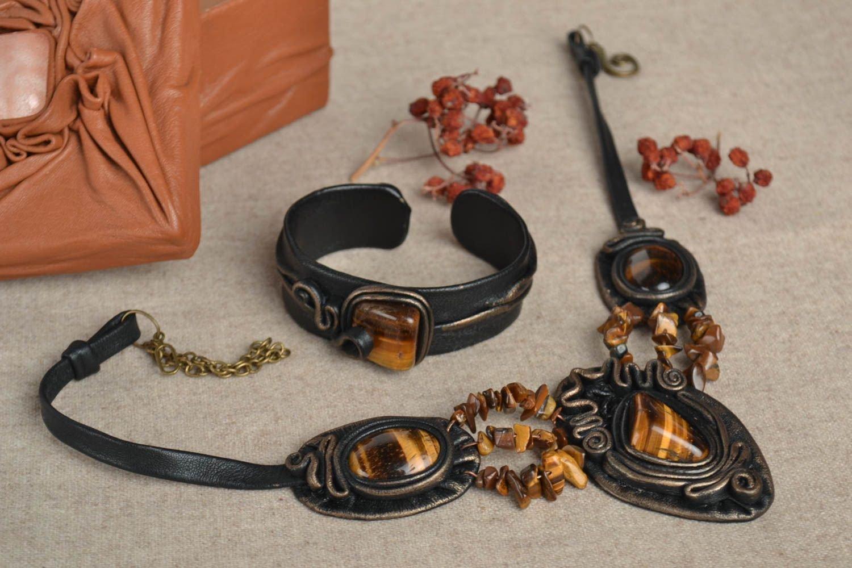 Handmade Damen Schmuck Set breites Lederarmband und Leder Collier schwarz günstig bestellen
