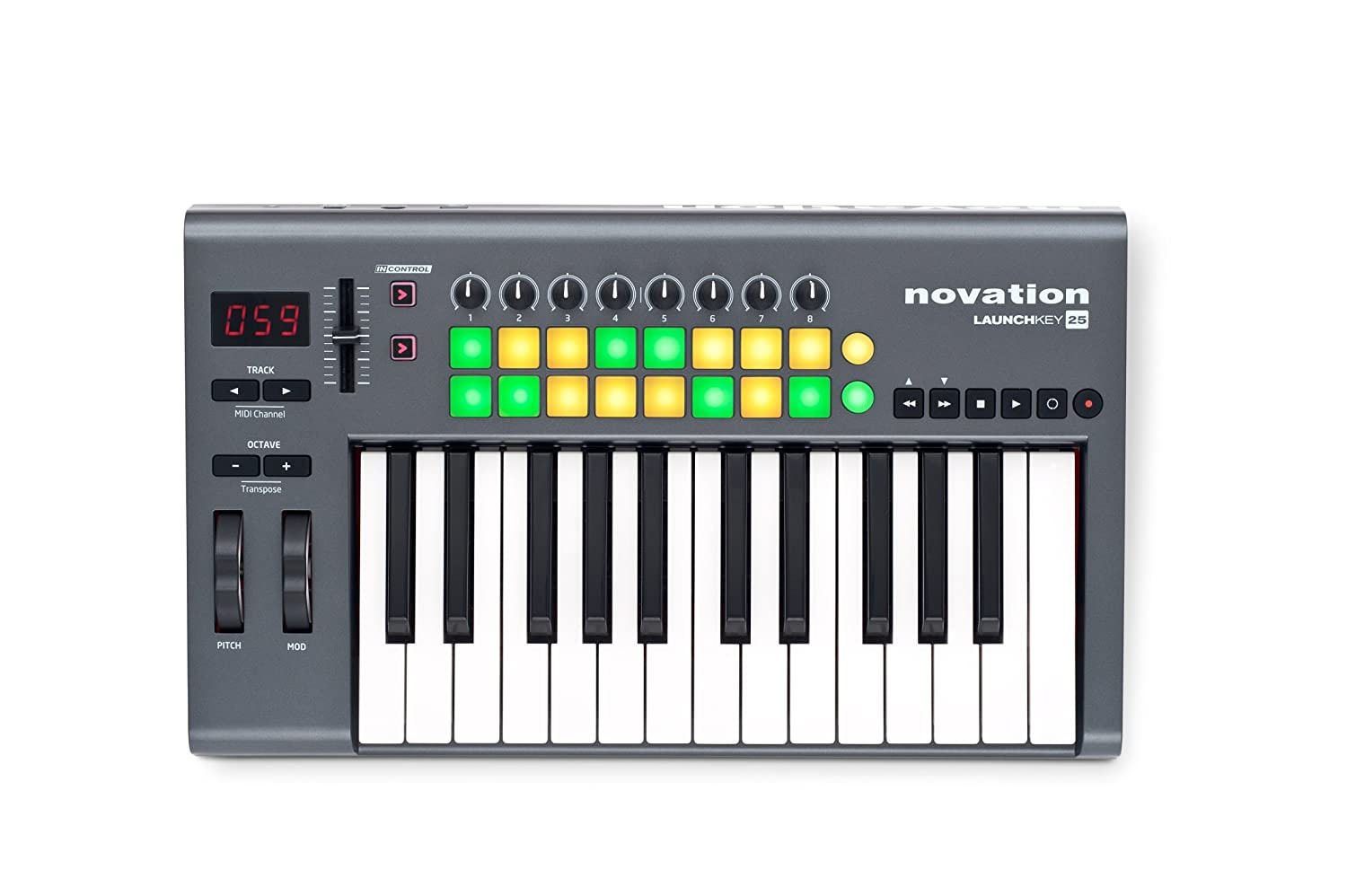 novation launchkey 25 25 key usb ios midi keyboard controller with synth weighted keys. Black Bedroom Furniture Sets. Home Design Ideas