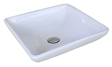 "Jade Bath JB-14028 15.75"" W x 15.75"" D Above Counter Square Vessel for Wall Mount Faucet, White"