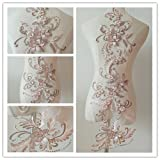 3D beaded flower sequence lace applique motif sewing bridal wedding 3in1 20cmx72cm (Dusty Pink) (Color: Dusty Pink)