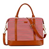 BAOSHA HB-28 Ladies Women Canvas Travel Weekender Overnight Carry-on Shoulder Duffel Tote Bag With PU Leather Strap (Red) (Color: Red, Tamaño: 16 x 12 x 8 inch)