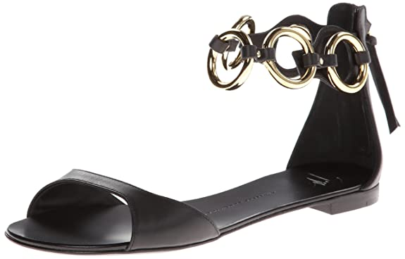 Giuseppe Zanotti Women's Gold Rings Ankle Strap Flat Sandal,Nero,6 B US