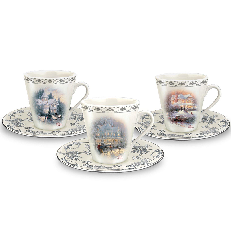 Thomas Kinkade Winter Elegance Teacup & Saucer Set by The Bradford Exchange