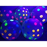 Blacklight Party Balloons - Clear Balloons with Polka Dots that Glow in the Dark under Blacklight - 25 Pack of 11 inch Clear Latex Balloons with Neon Flourescent Polka Dots (Color: Neon Polka Dot)