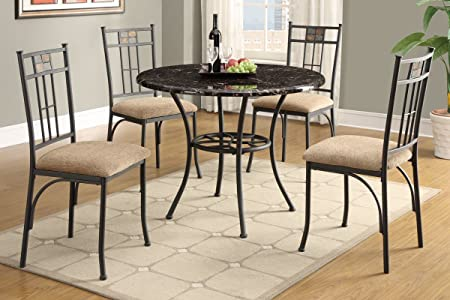 Poundex F2349 & F1307 Marble Table W/ Beige Fabric Chairs Dining Set